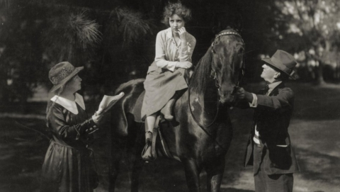 "Alice directs Bessie Love in ""Her Great Adventure, or, The Spring of the Year"""